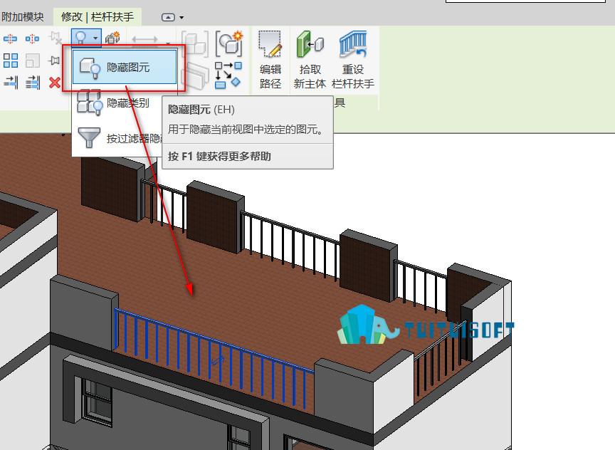 腿腿教学网-Revit隐藏和取消隐藏工具如何使用?