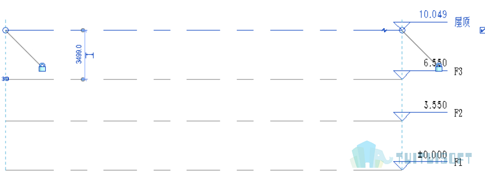 腿腿教学网-Revit入门级教程第三章-Revit标高与轴网(建模示例)