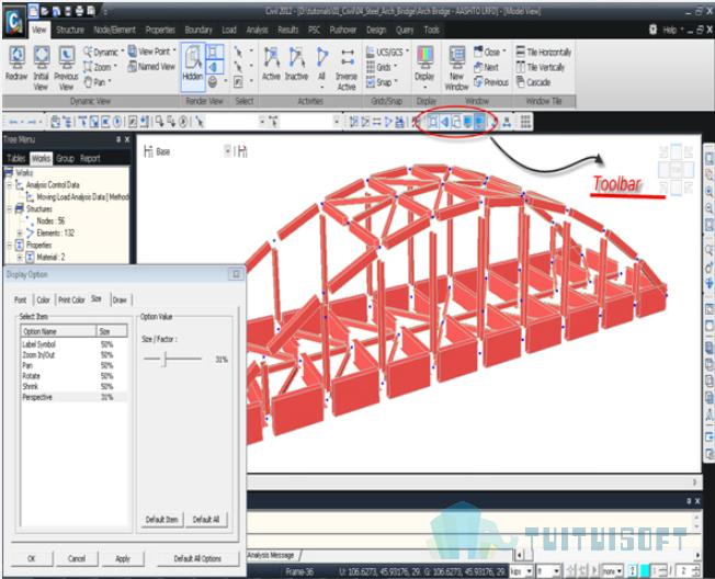 腿腿教学网-迈达斯软件丨Midas Civil渲染视图