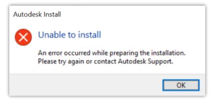 Autodesk提示无法安装是为什么?安装Autodesk产品时出现准备安装时出错
